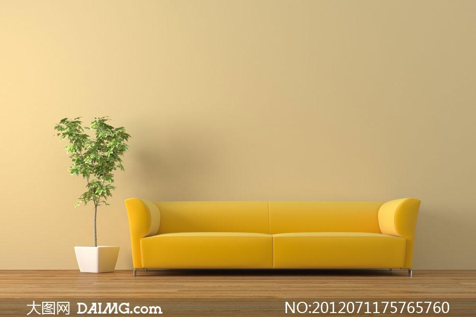 黄色沙发与室内盆栽摄影高清图片 大图网