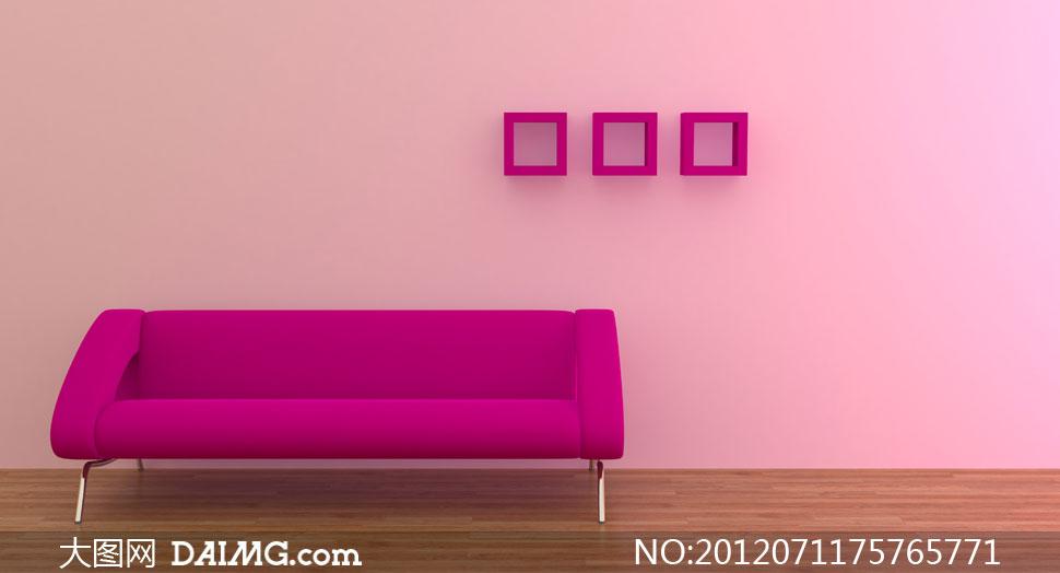 效果图装修家具沙发格子木地板粉色粉红色墙壁墙面