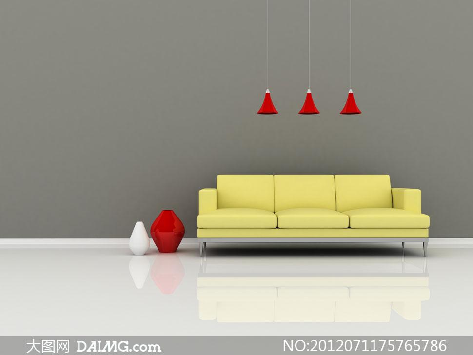 黄色沙发与红色吊灯高清图片图片