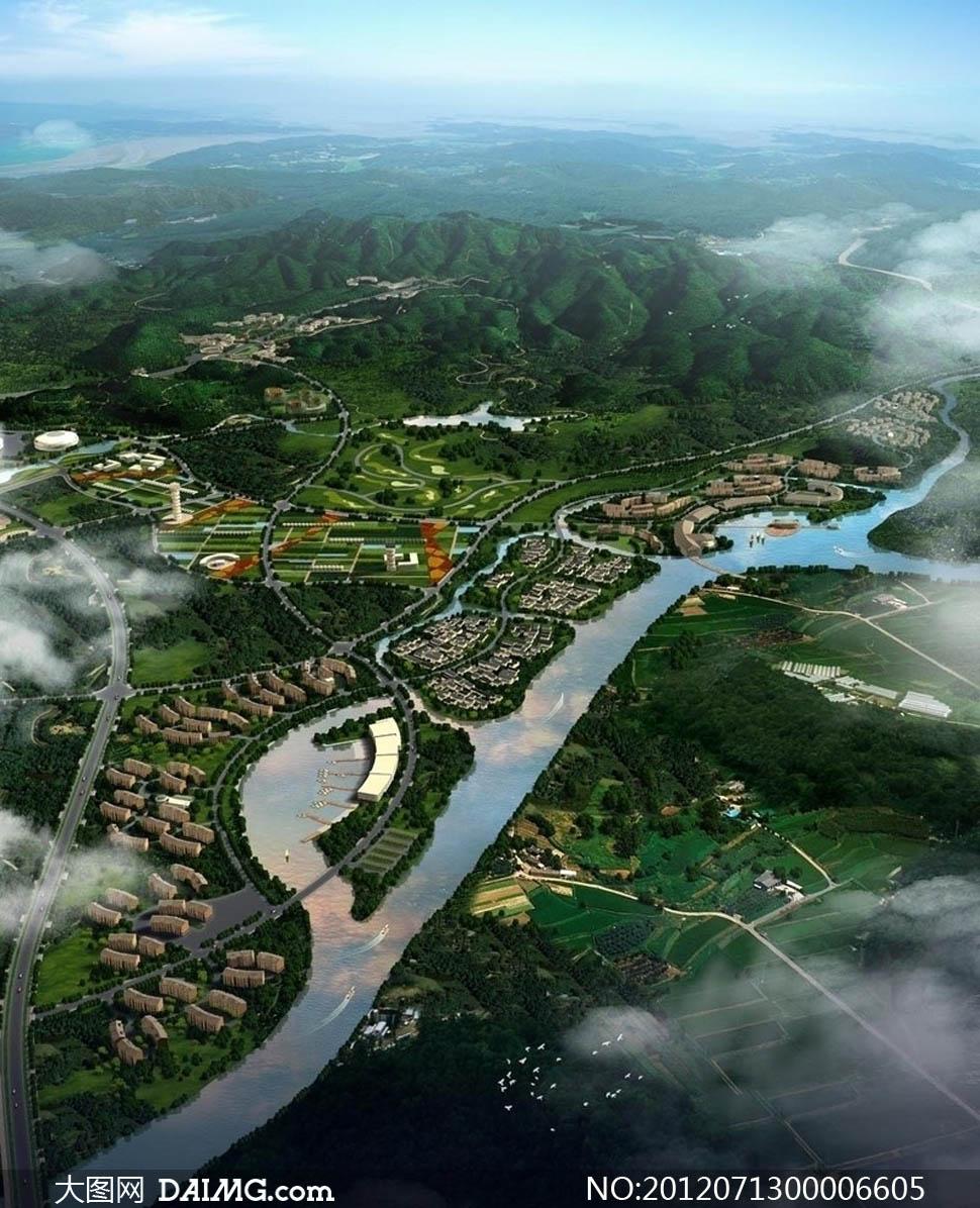 城市规划鸟瞰景观图设计PSD分层素材 - 大图网