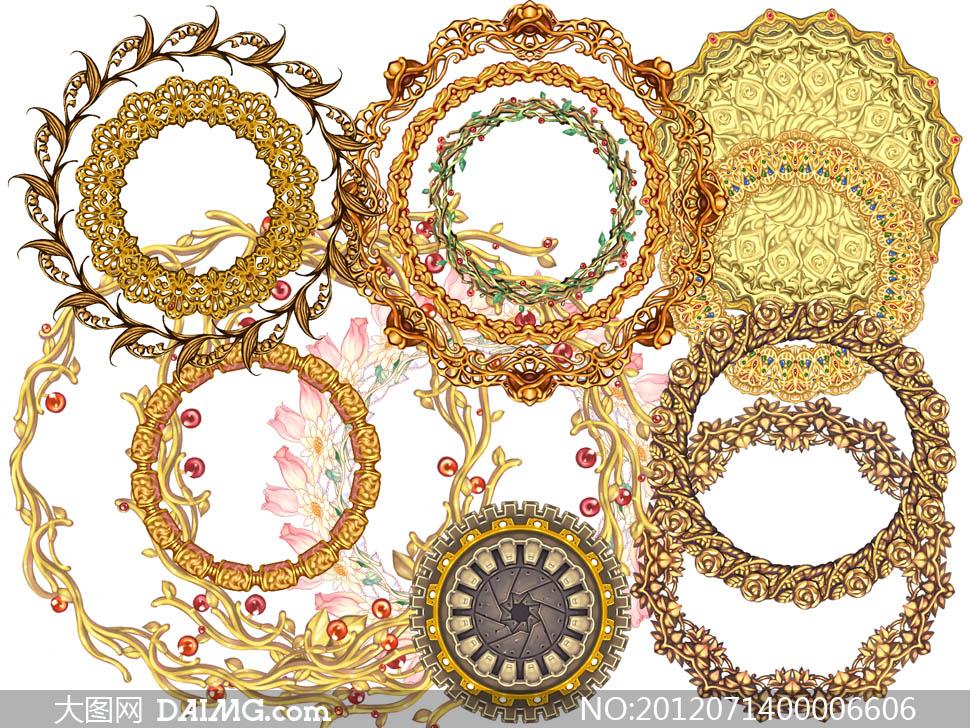 欧式花纹花边高贵华丽富贵奢华花藤边框边角古典圆形
