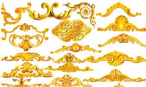 立体感黄金花边设计PSD分层素材