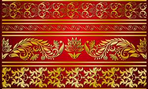 金色花边底纹设计PSD分层素材
