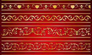 金色花纹边框设计PSD分层素材