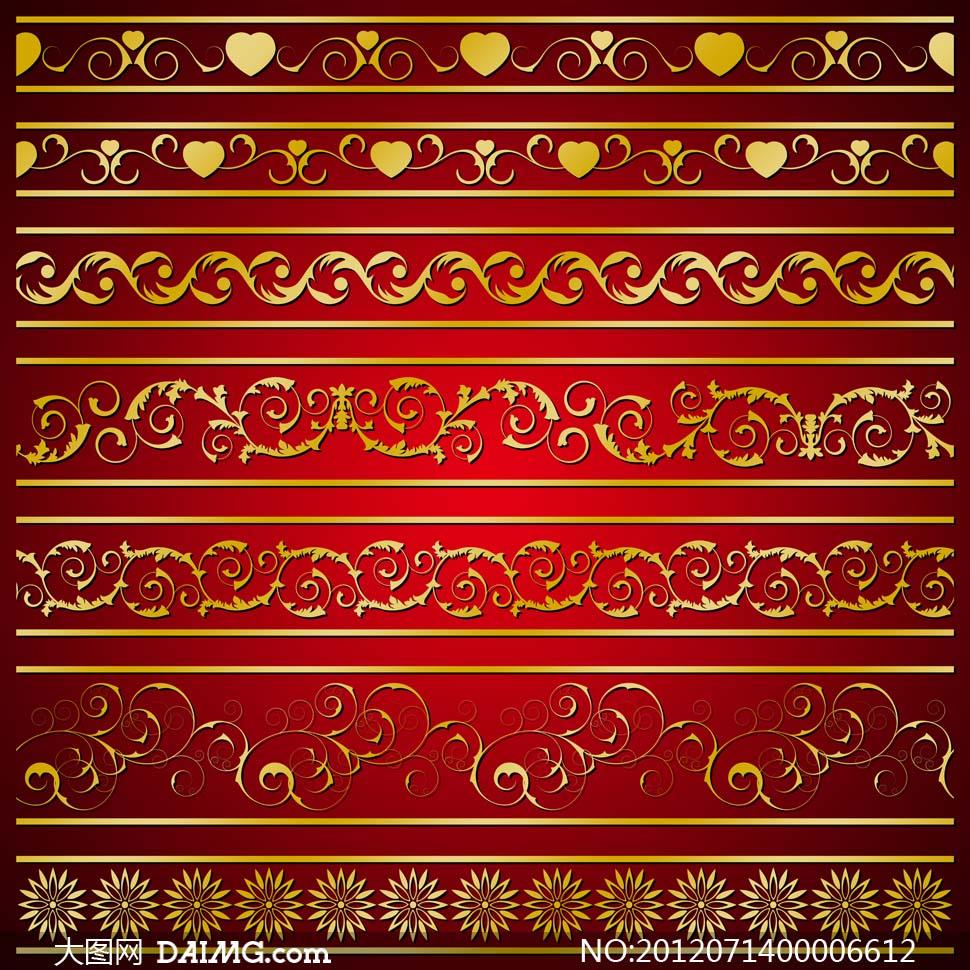 金色花藤藤蔓装饰边缘分割线高贵富贵华丽尊贵设计