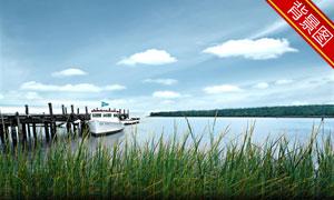 停靠码头的船只影楼摄影背景图片