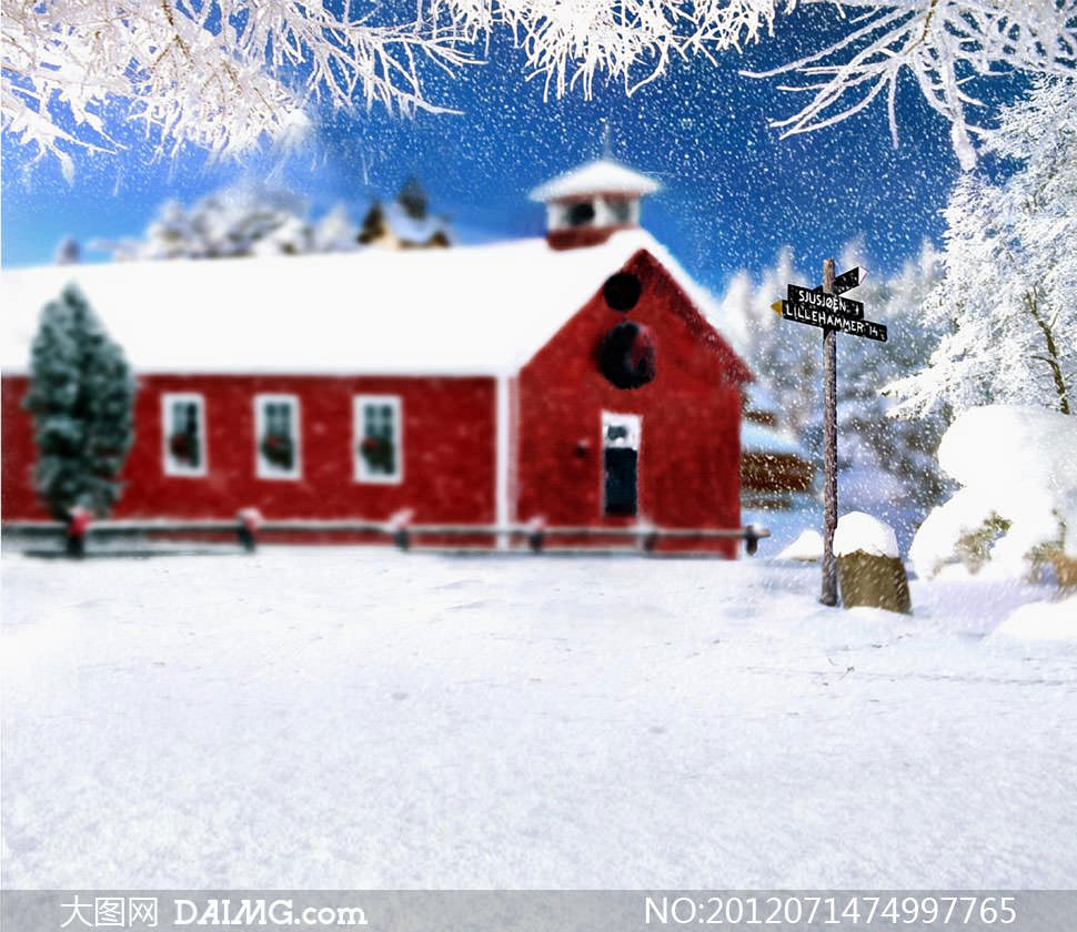 雪地里的红房子影楼摄影背景图片