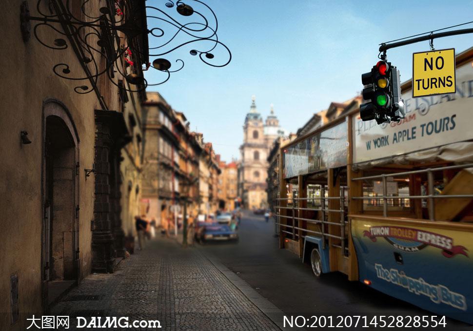 影楼街上的电车城市v影楼背景图片-大图网设计素材土巴兔装修云设计师图片