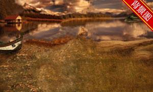 黄昏湖畔风光影楼摄影背景图片
