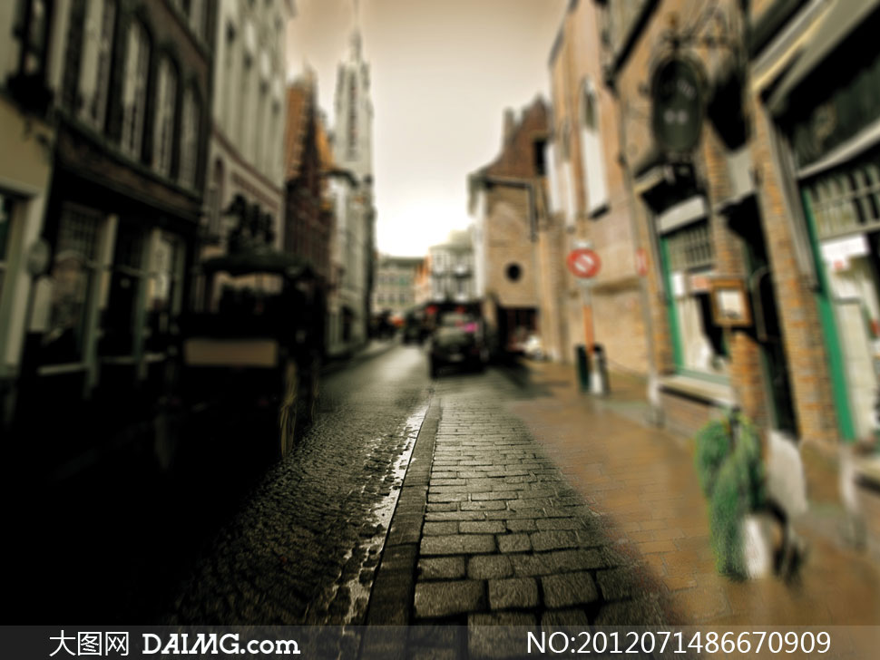 城市里的铺石路影楼摄影背景图片