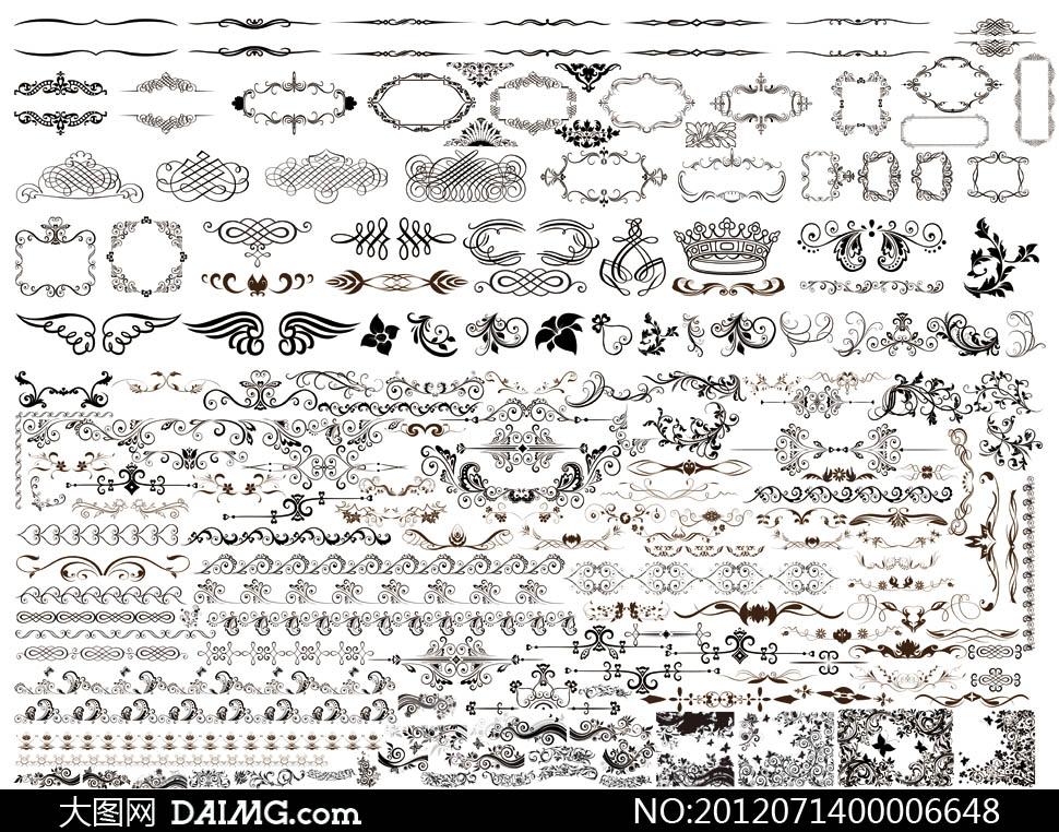 欧式花纹花边装饰psd分层素材
