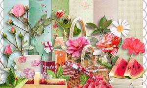 花朵篮子和水果类实物图片素材
