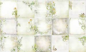 绿色清新花边背景剪贴图片素材