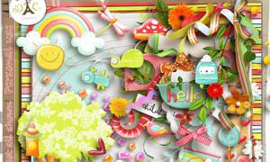 卡通花朵和立体实物剪贴图片素材