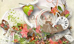 爱心边框和花朵蝴蝶等剪贴图片素材
