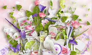 花朵蝴蝶和绿藤丝带等剪贴图片素材