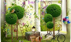 绿色花藤和木纹相框等剪贴图片素材
