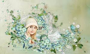 绿色花叶和高跟鞋帽子等剪贴图片素材