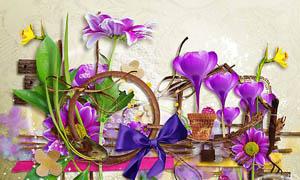 炫彩花朵和居家物品等剪贴图片素材