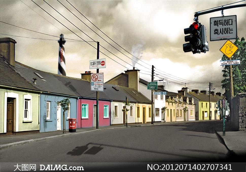 韩式大街风光影楼摄影背景图片