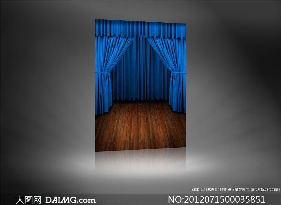 木地板与蓝色幕布影楼摄影背景图片