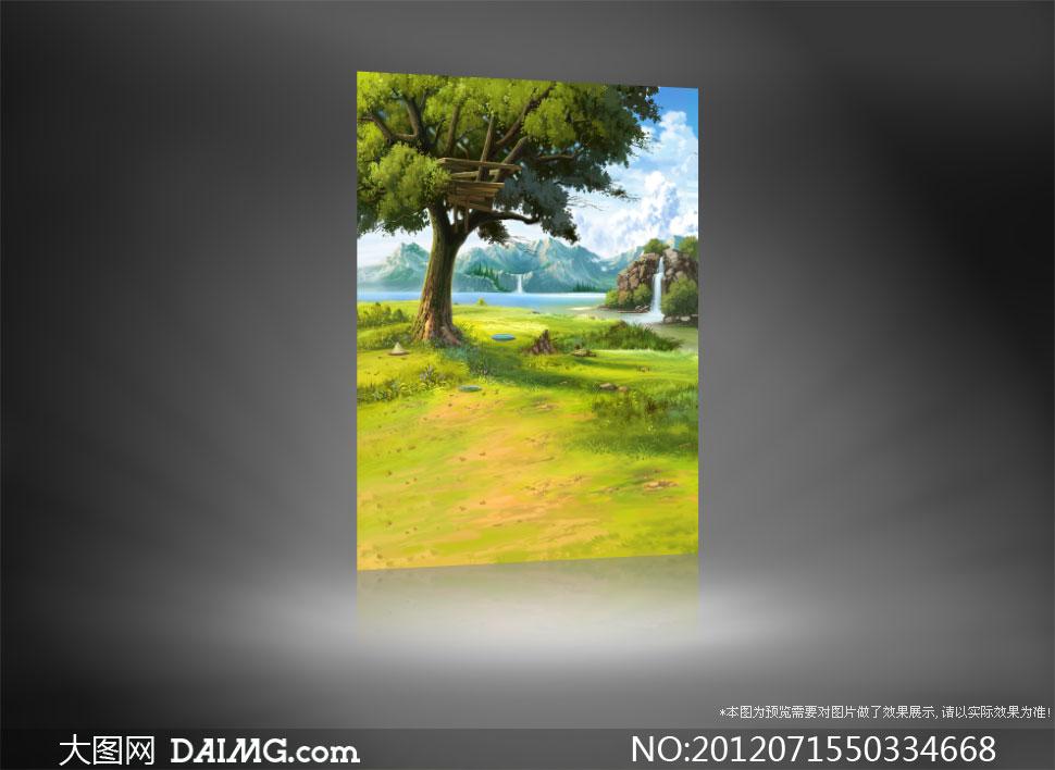山水大树水彩画影楼摄影背景图片