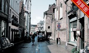 欧式风情城市街道影楼摄影背景图片
