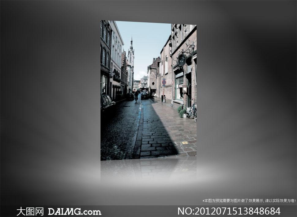 歐式風情城市街道影樓攝影背景圖片