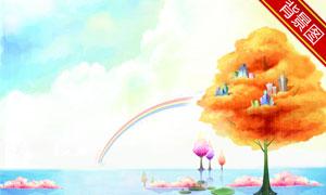 天空云彩水彩画影楼摄影背景图片