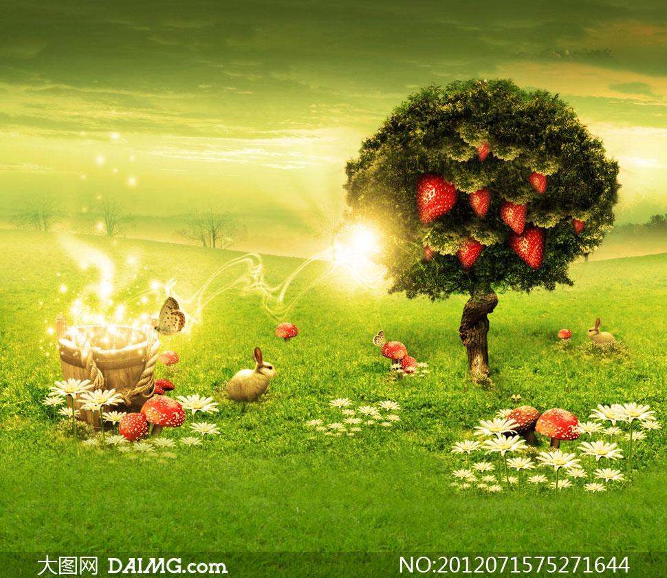 挂满草莓的大树影楼摄影背景图片