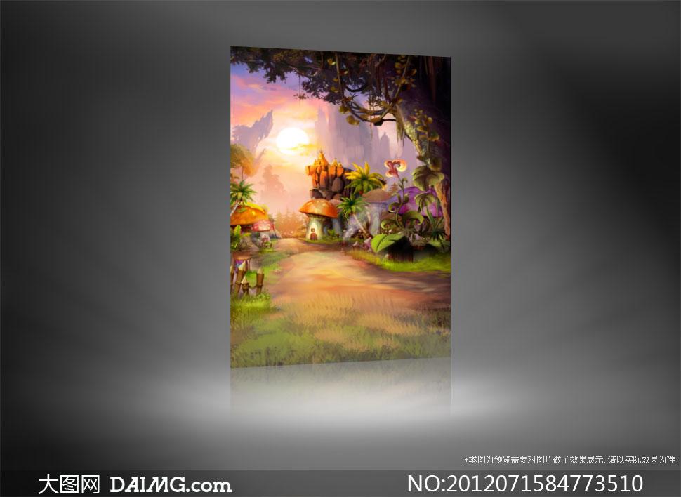 大树底下的蘑菇房影楼摄影背景图片