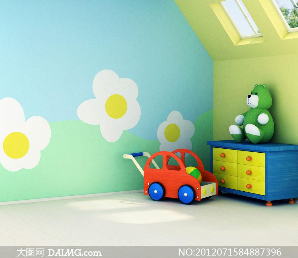 房间角落里的玩具影楼摄影背景图片 - 大图网设计素材图片