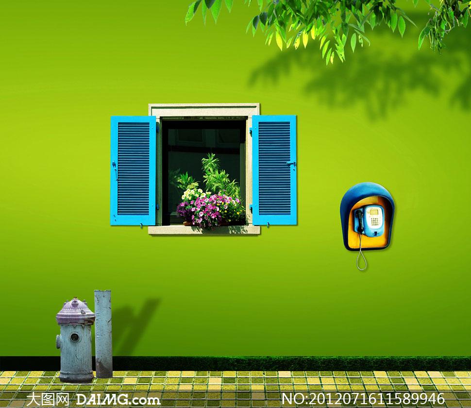 绿色墙壁与窗户影楼摄影背景图片