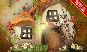 卡通可爱蘑菇屋影楼摄影背景图片