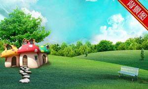 野外的蘑菇房长椅影楼摄影背景图片