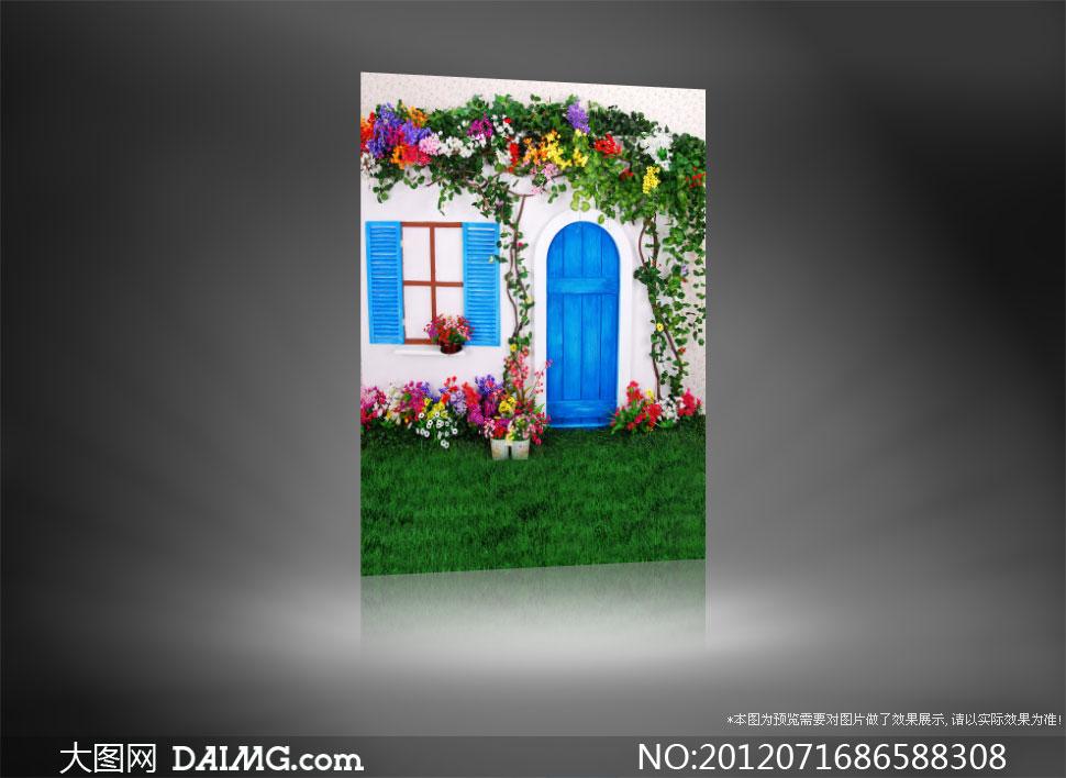 鲜花装饰的房子影楼摄影背景图片