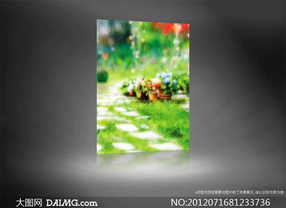 铺石路旁的花盆影楼摄影背景图片