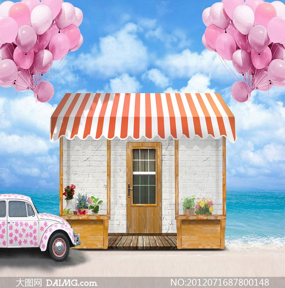 蓝天白云气球房子影楼摄影背景图片