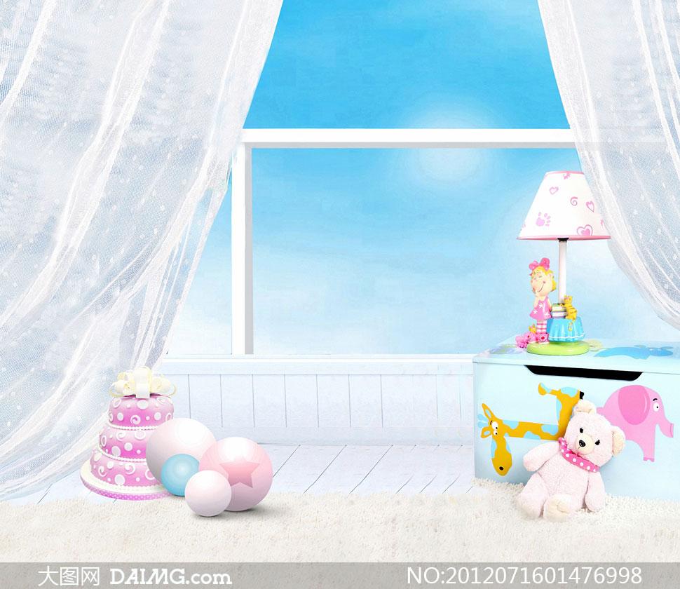 窗户前的儿童玩具影楼摄影背景图片