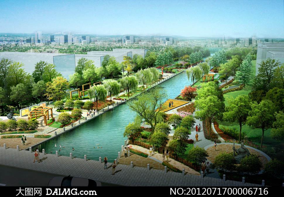 河道公园景观效果图设计psd源文件