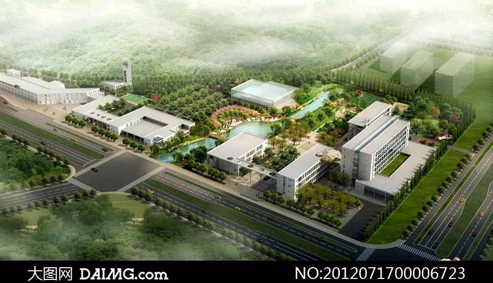 工业园区鸟瞰效果图PSD分层素材 - 大图网设计