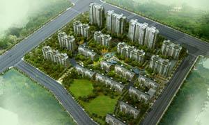 高层住宅小区鸟瞰图PSD分层素材