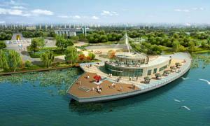 公园湖边绿化景观图PSD分层素材