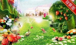 草莓树与草地兔子影楼摄影背景图片