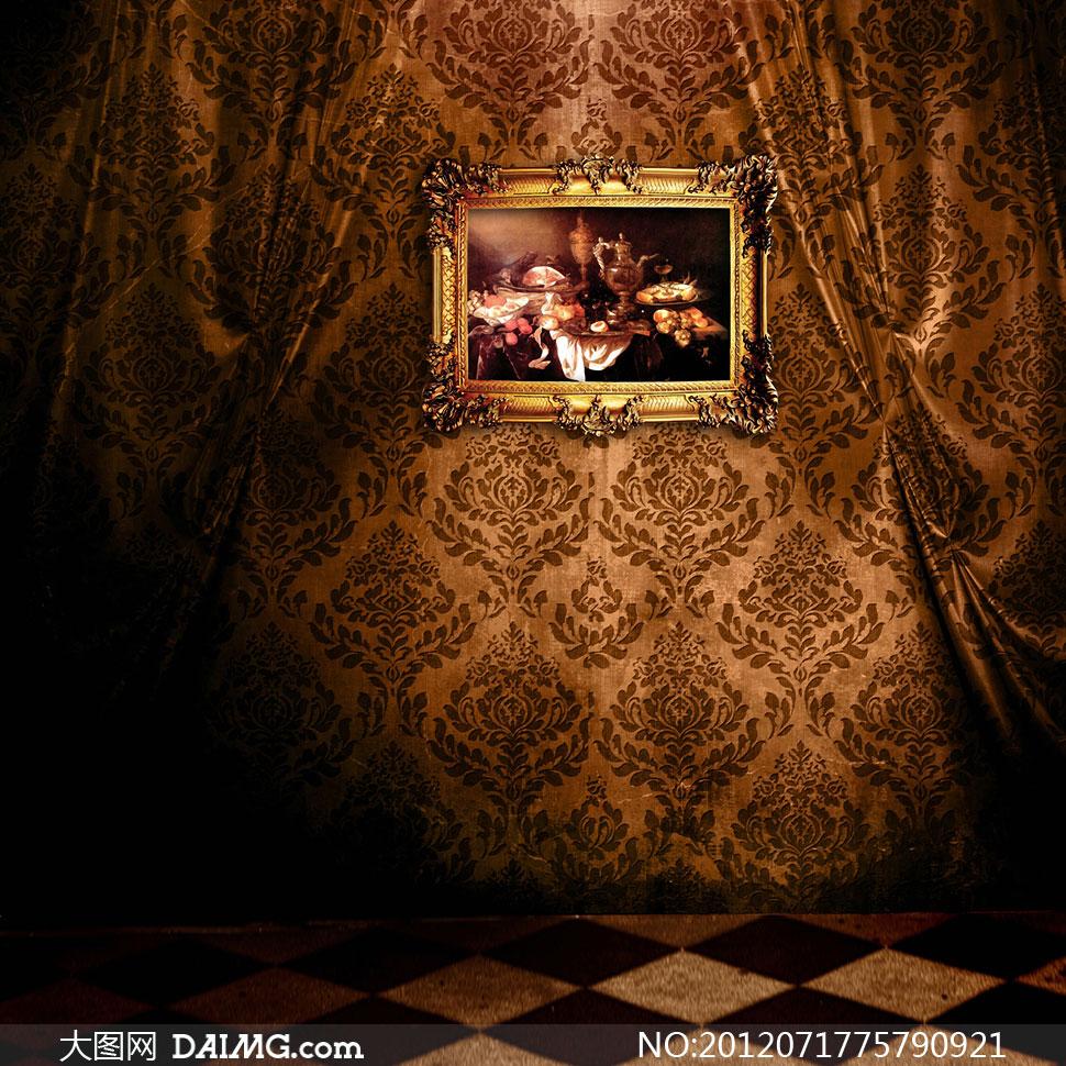金质相框室内场景影楼摄影背景图片图片