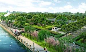 滨江公园景观效果图PSD分层素材