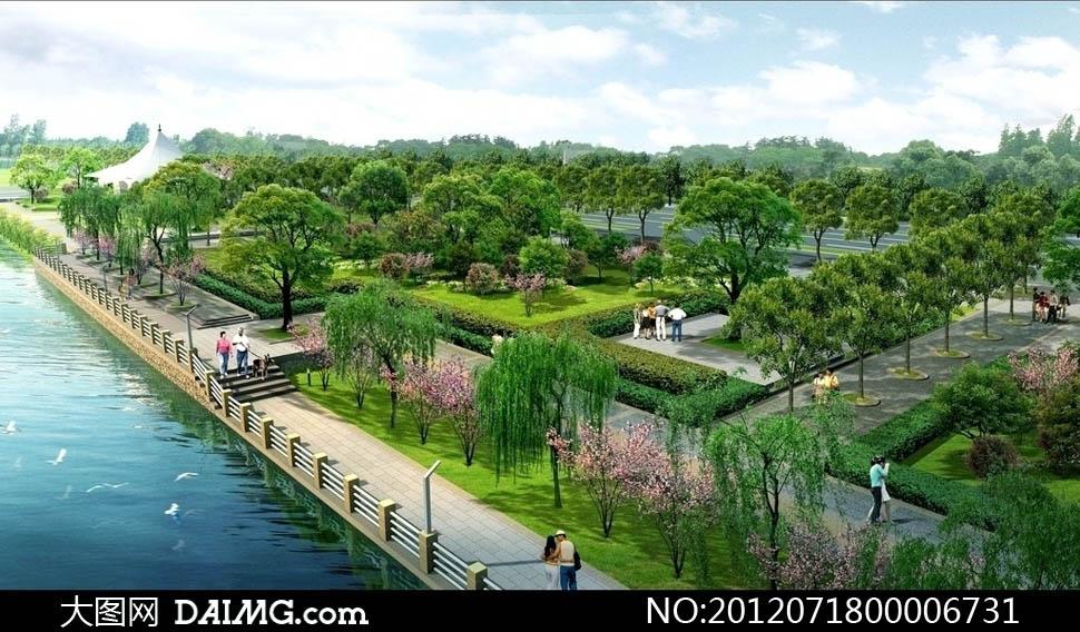 亭子园林绿化鸟瞰图效果图景观图景观效果图景观设计环境设计后期处理