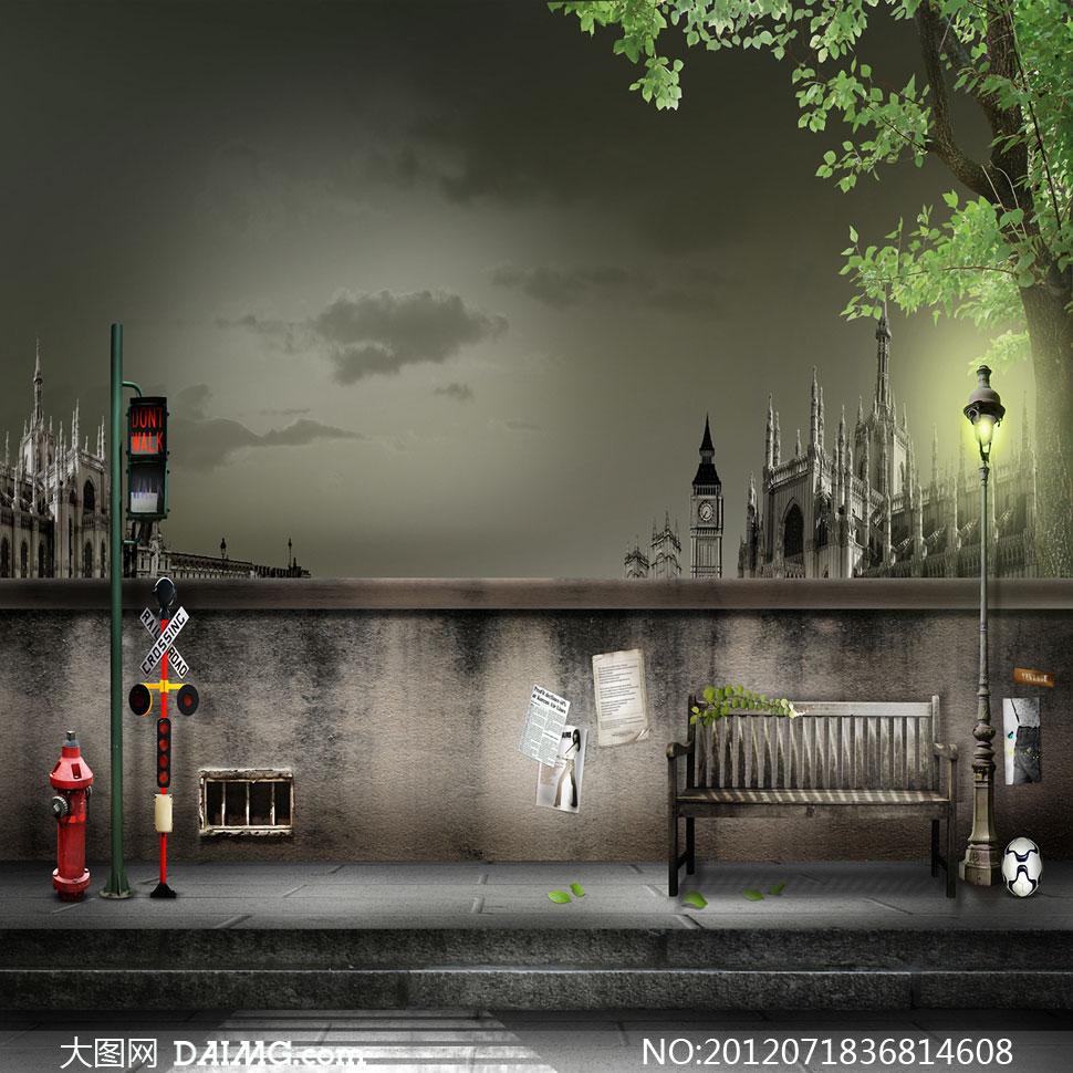 欧式街道背景素材