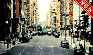高楼林立的城市影楼摄影背景图片