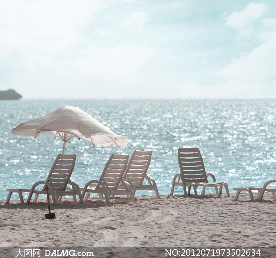 大海边的沙滩椅影楼摄影背景图片 - 大图网设计素材图片